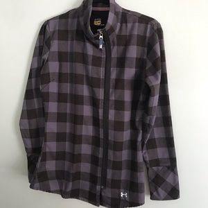Under Armour Flannel front zip, long sleeve shirt.